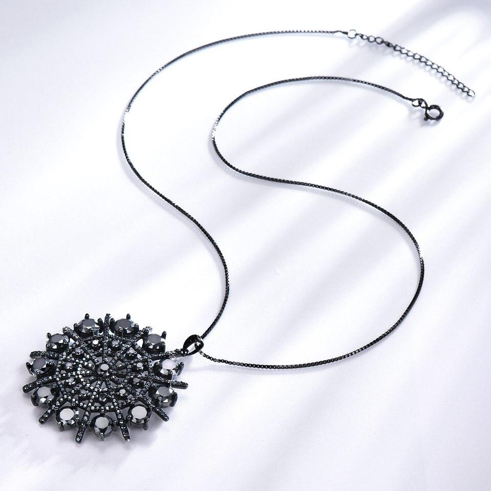 UMCHO Hyperbole Pierres Précieuses Noir Spinelle Collier Pendentifs Solide 925 En Argent Sterling bijoux pour femme Pour Les Femmes Cadeau bijoux fins - 2