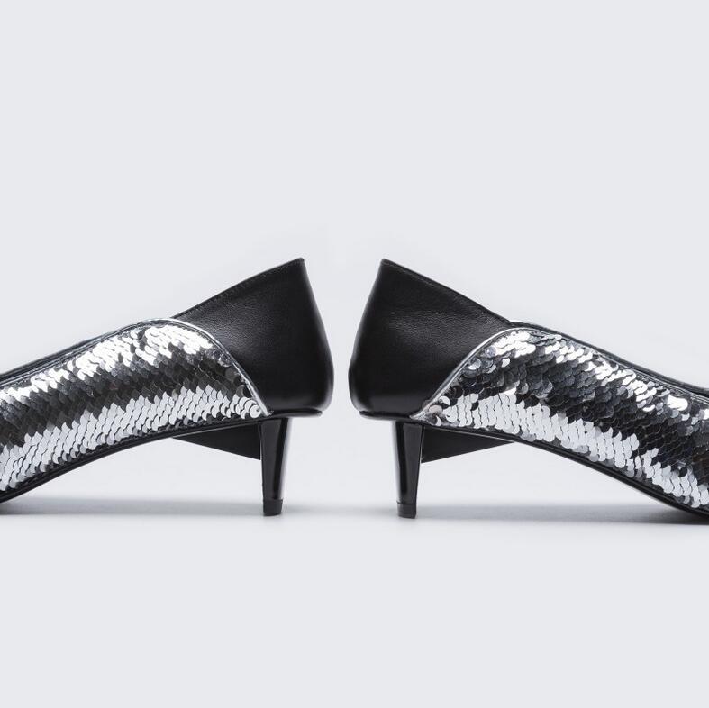 De Femmes 2019 Perfetto Étrange Chaussures Argent Paillettes Deux Style Pompes Mi Nouvelle Partie Robe Usure Dame Pointu Bout Mode Talon Prova qaxw0d5ta