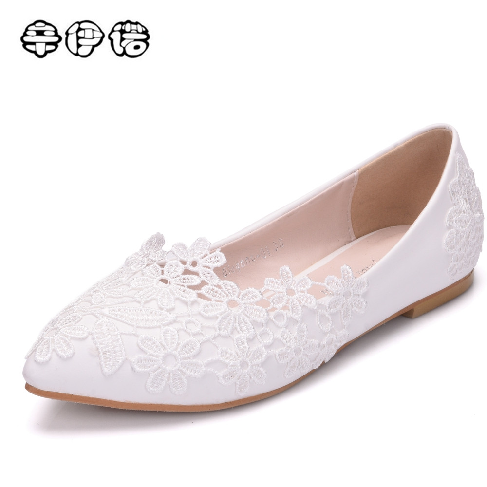 2018 lace wedding shoes sweet casual flat heel white pointed toe flats women shoes flats white lace casual flats plus size 43 extra large plus sizes 41 42 43 flats wedding lace shoes womens female woman bridal flat heel wedding flats shoes large sizes