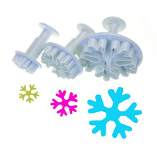 3pcs/set Christmas Snowflake Plunger Mold Cake Decorating Tool Cookie Cutters Fondant Sugarcraft Cutter Moulds