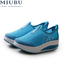 MIUBU New Height Increasing Women Summer Casual Shoe EU 35-40 Breathable Mesh Upper Slip-on Lady Fitness Swing Shoes