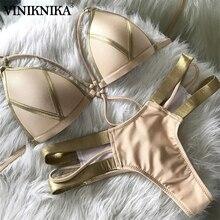 VINIKNIKA Gold Stamping Bikini Set Sexy Padded Women Swimsuit Push Up Bandeau Swimwear Summer Beachwear Brazil Bathing Suit 2019