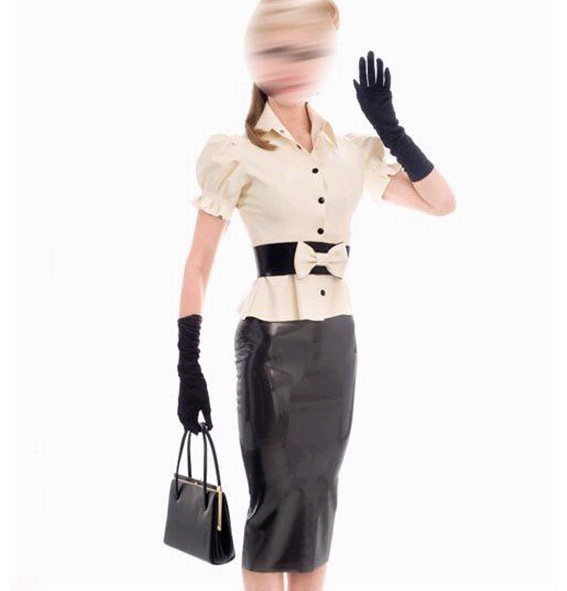 Fashion Women Suits Set Latex Jacket Rubber Skirts Fetish -5712