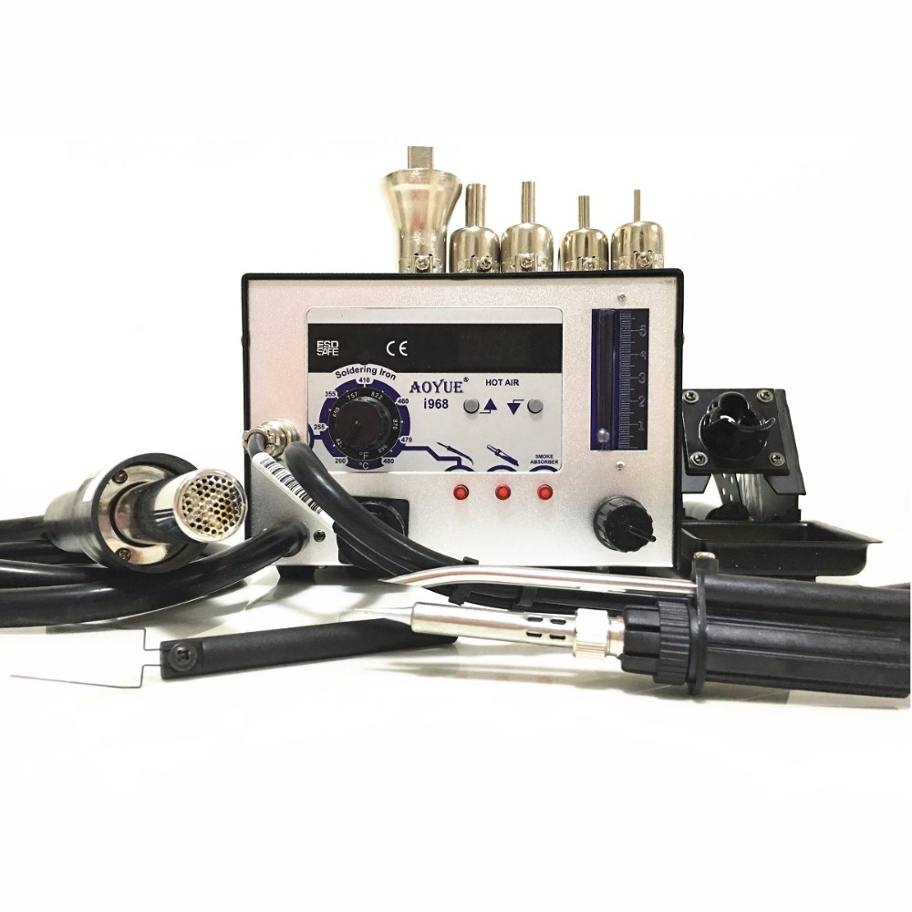 AOYUE 968 220V SMD SMT 3 in 1 solder station Rework Station soldering hot air soldering