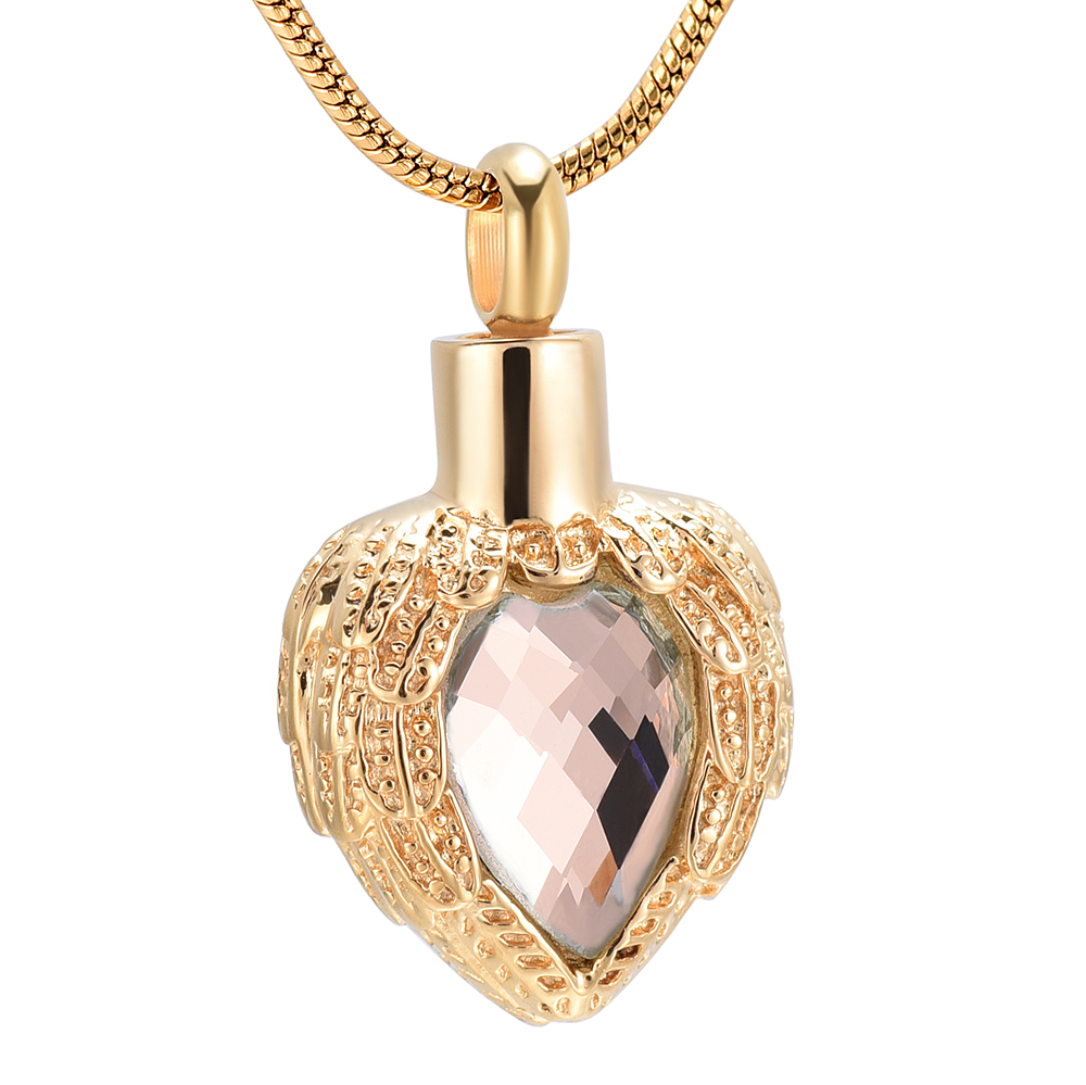 Angel Wings Heart Urn Pet//Human Cremation Pendant Necklace Jewelry for Ashes