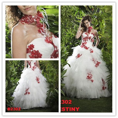 Red and White Ball Gown Wedding Dress – Fashion dresses