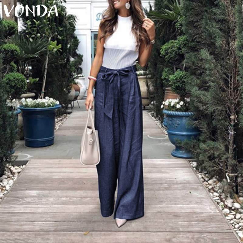 VONDA Summer Pants 2020 Loose Denim Wide Leg Pants Jeans Elastic High Waist Trousers Womens Clothing Casual Bottoms Pantalon 5XL