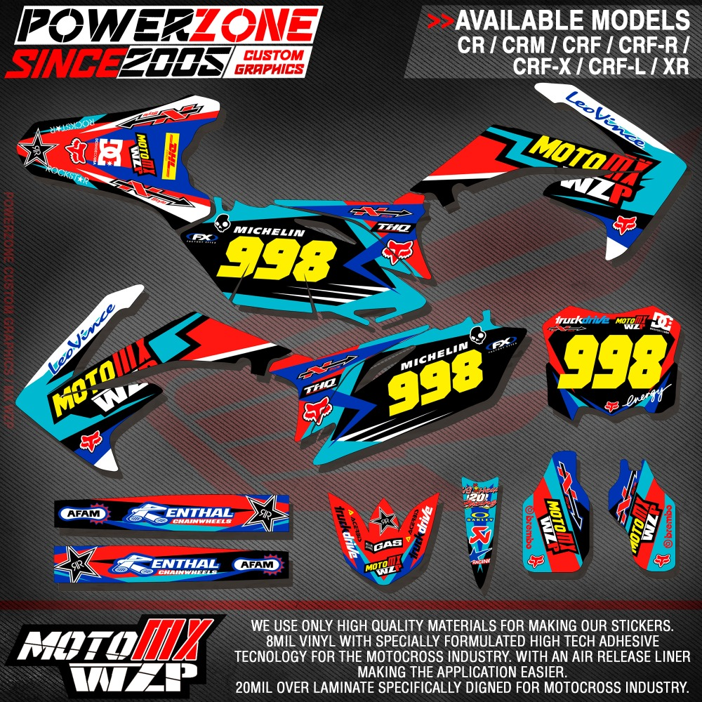 CRF XR CRM 125 250 450 650 Team Graphics Backgrounds Decals Stickers Ren Motorcross Motorcylce Dirt Bike MX Racing Parts
