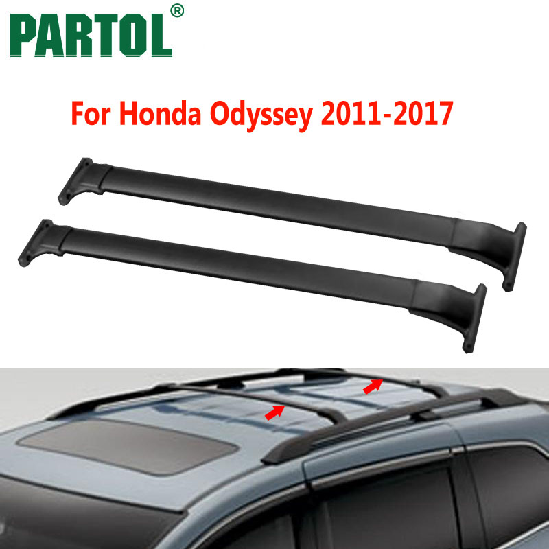 Partol Black Car Roof Rack Cross Bars Roof Luggage Carrier Roof Rail For Honda Odyssey 2011 2012 2013 2014 2015 2016 2017 132LBS partol car roof top cross bars roof rack cross bars rail carrier 150lbs aircraft aluminum for mazda cx 7 2007 2008 2009 2010 12