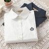 Cotton Shirt Polka Dot Blouse Women Long Sleeve Shirt