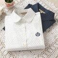 Outono E Inverno Moda Senhoras Escritório Camisa de Algodão Polka Dot Blusa Mulheres Camisa de Manga Longa