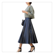 Sping and Winter PU Leather Skirt new retro high waist skirt was thin black bust pleated 2016 style
