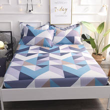 100% Cotton blue bed sheets fitted sheet elastic rubber mattress cover bedding twin full queen bed Size 90/120/140/150/160X200cm