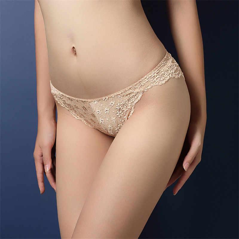 Moda damska bielizna seksowna koronkowa przezroczysta niskiej talii Hollow T powrót majtki pani majtki typu figi Hot