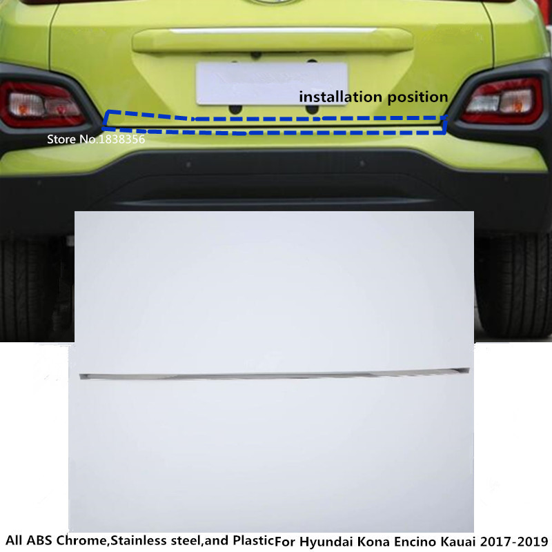 Car Styling Fit For Hyundai Kona Kauai 2018 2019 Rear: Car Styling ABS Chrome Rear Door License Tailgate Bumper
