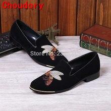 b3ae798167 Choudory Nova chegada preto sliver metal toe bordados Sapatos Italianos  marcas de chinelos de veludo homens