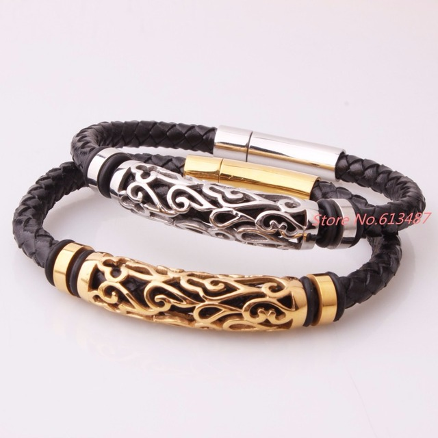 Casual Men Jewelry Black Braided Leather Bracelet Stainless Steel Silver Gold Bracelets Bangles Cow