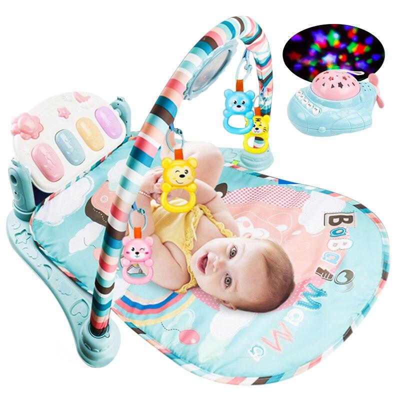 Meibeile bébé jouets éducatifs nouveau-né infantile ramper Gym Musical Piano Fitness Rack bébé jouer tapis avec Projection avion lumières