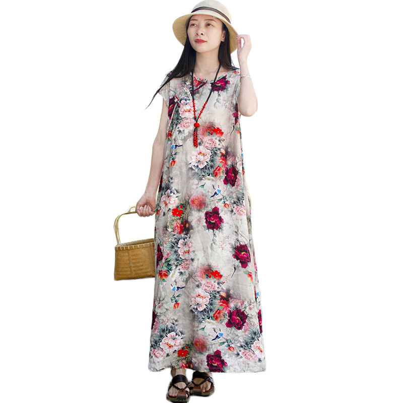 Hisenky Vintage Floral Dress Women Summer Casual Dress Cotton Linen Sleeveless Elegant Ladies Dresses Vestido Robe Longue Femme round neck ladies sweater dresses cotton knitted 2018 summer womens mini dresses long sleeve party dress robe longue femme q1