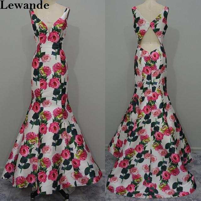 1643b9780a Lewande Syrenka Floral Print Długa Sukienka Różowa Róża Wzór Otwarte Powrót  Korowód Suknia Homecoming Suknie Druhna