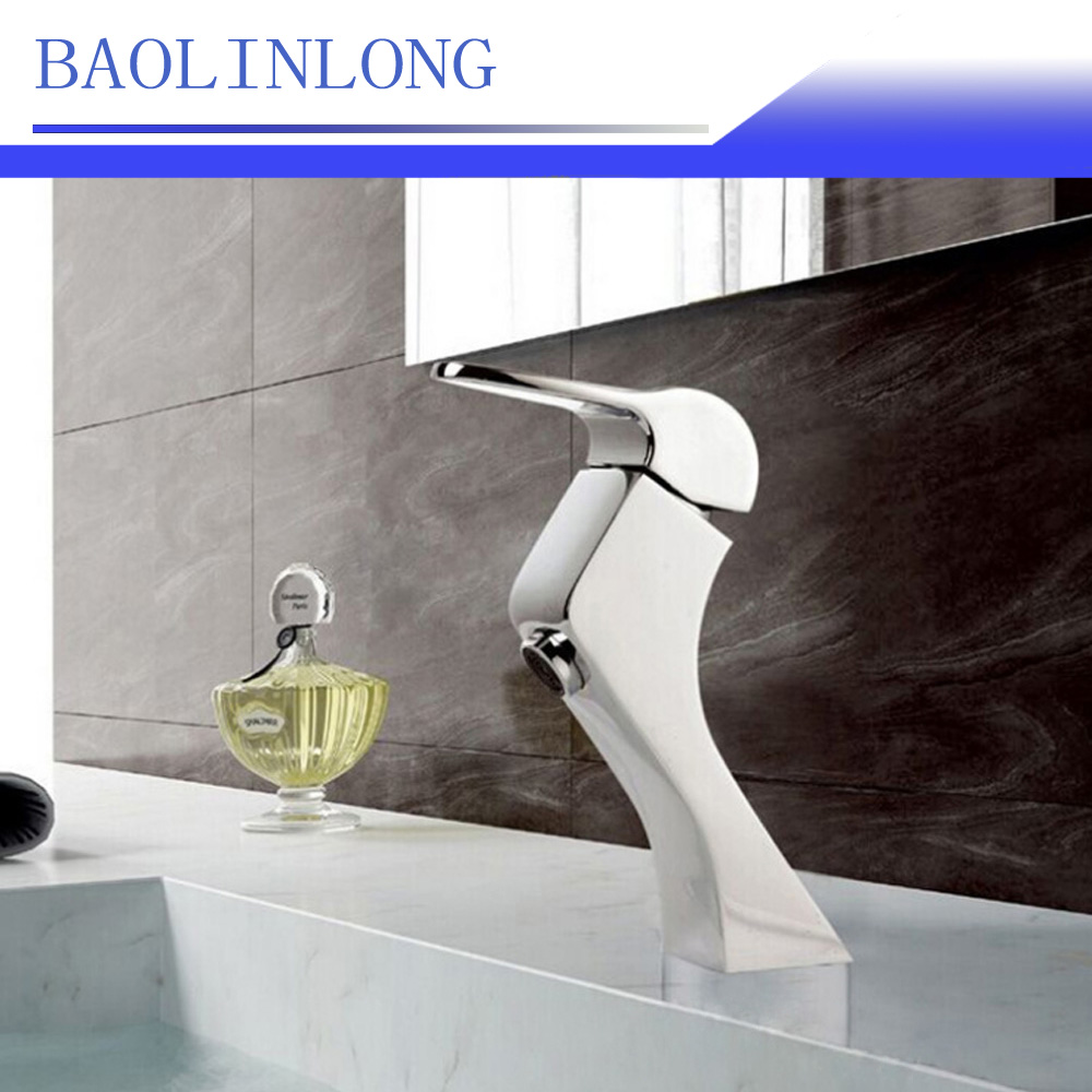 BAOLINLONG Brass Deck Mount Bathroom Faucets Basin Vanity Vessel Sinks Mixer Faucet Tap