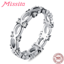 MISSITA 100% 925 Sterling Silver Classic Bowknot Infinity Rings For Women Wedding Brand Fashion Jewelry Gift anillos mujer