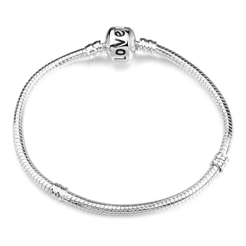 Новинка, браслет с подвеской из розового золота с Микки-Маусом, цепочка со змеей, подходит для Pan, базовые браслеты для модных женщин, бусины, сделай сам, ювелирное изделие - Окраска металла: NSL0002-1