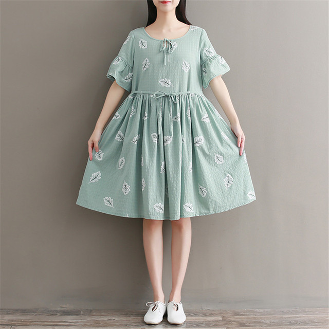 50ef951ff471 Mori Girl Summer Women Cute Green Dress Leaf Print Cotton Linen Vestidos De  Festa Short Butterfly Sleeve String Casual Dress