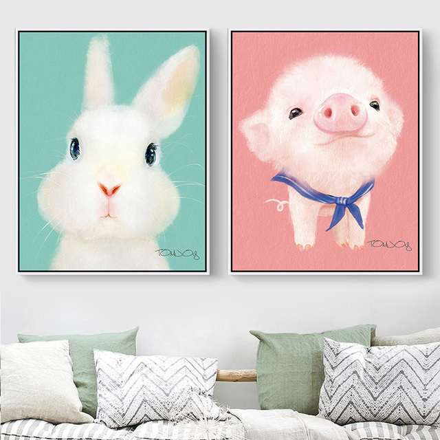 Cute Animal Canvas Painting Small Chicken For Kids Room White Rabbit Bear Prints Home