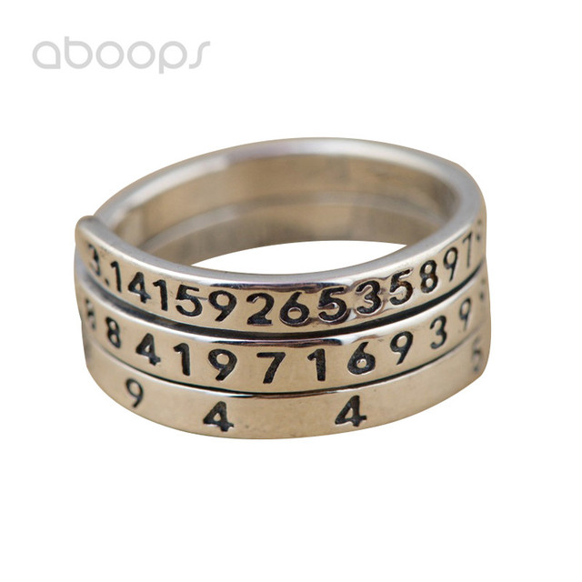 Plain Solid Vintage 925 Sterling Silver Pi Biblical Value Ring for Men Women Adjustable Free Shipping