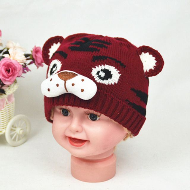 Fashion Autumn Winter Children Knitted Hat Animal Tiger Pattern ...
