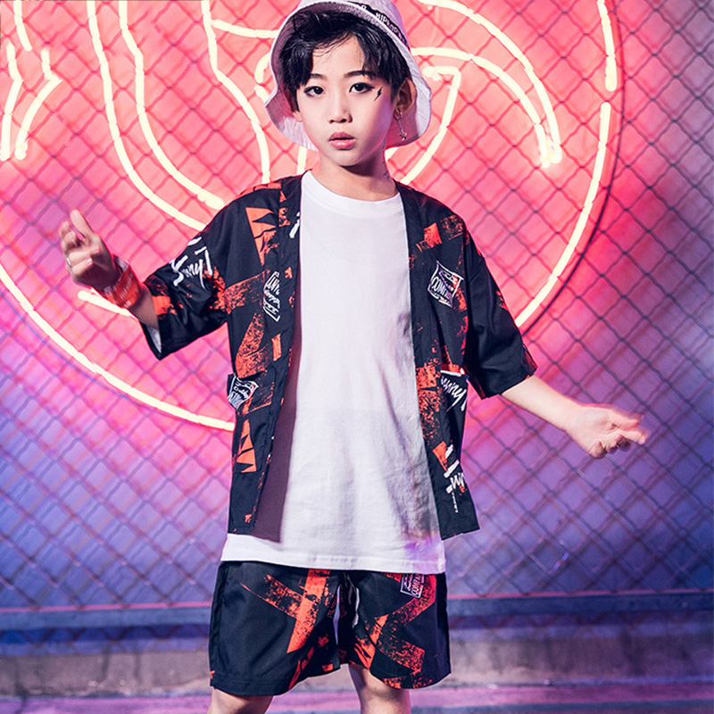 Kids Jazz Dance Costume Boys Streetdance Hip Hop Personality Costumes Children Performance Stage Show Clothes Wear Outfit DN3481