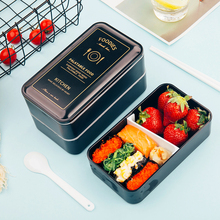 1200ml Black Lunch box double-layer Portable Bento Eco-friendly Food container with compartments Leakproof Microwavable