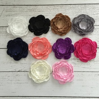 120pcs/lot 9cm DIY Handmade Satin Layered Wedding Customize Artificial Flower Hair Accessory For Bridal Bouquets Decoration