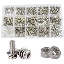 Phillips Pan Head Machine Screw Metric Thread Combination Bolt Nut Washer Assortment Kit Set Stainless Steel M2 M2.5 M3 M4 M5 160pcs m2 m2 5 m3 m4 m5 steel screws sem phillips pan head nuts assortment kit