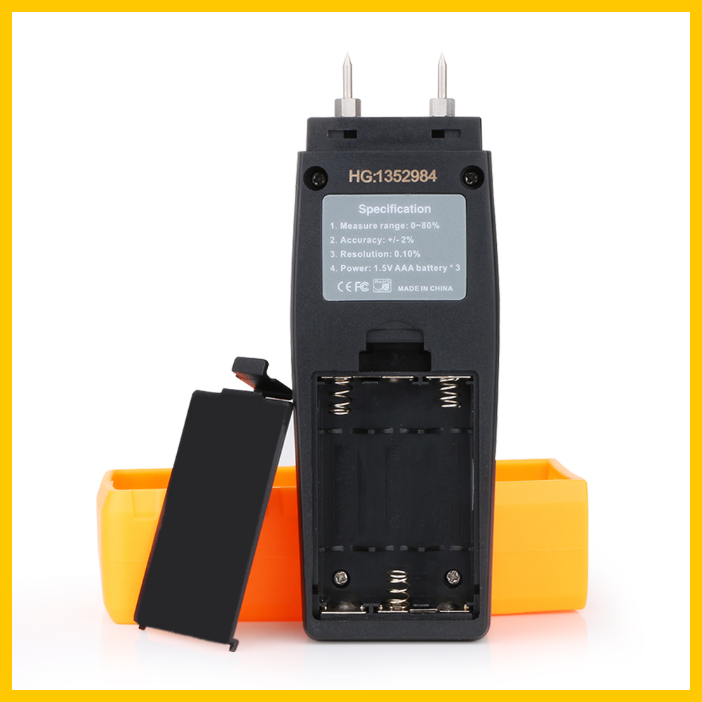 RZ Professional Wood Moisture humidity Meter Digital Tester 0%~80% Two Pins Large LCD Display with Back light Temperature RZ660