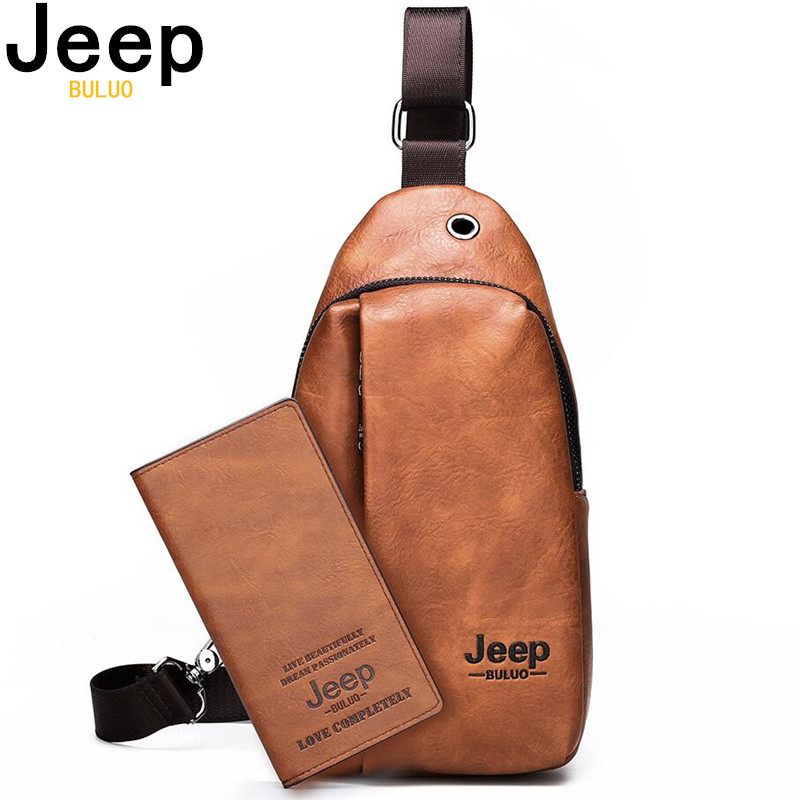 JEEP BULUO New Men's Sling Bag Back Dack Casual Daypacks Chest Bags For Man Crossbody Shoulder Bag Pouch Travel High Quality