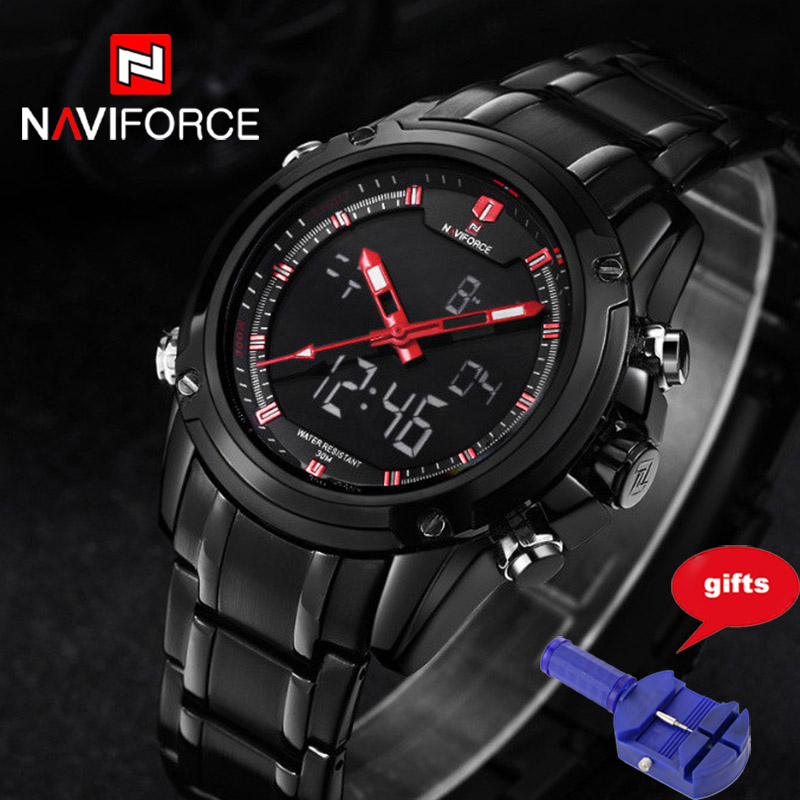 NAVIFORCE Top Luxury Brand Men Military Sports Watches Men's Quartz LED Hour Analog Clock Male Wrist Watch Relogio Masculino top brand luxury waterproof men sports watches men s quartz led digital clock male army military wrist watch relogio masculino