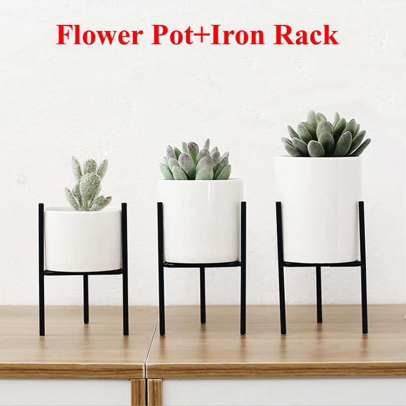 Solid Flower Pots Standing Balcony Garden Plant Metal Iron Planter Home Decor Short And Tall Pot