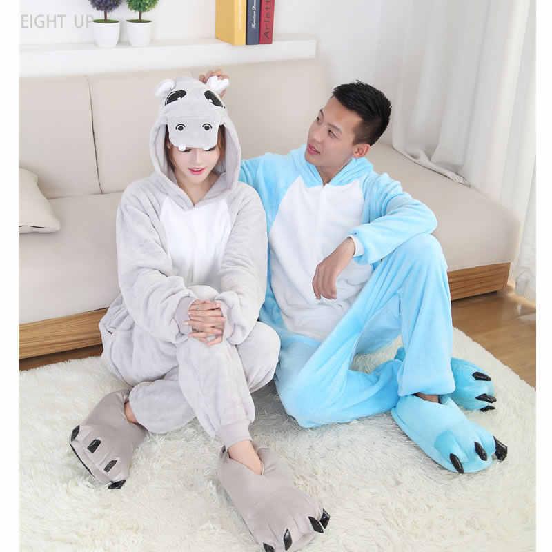 Бегемот Свободный комбинезон унисекс взрослых кигуруми пижамы косплэй  Костюм Sleepsuit Зима Весна ночная рубашка для влюбленных e653a3a5f9724