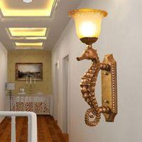 European style Sea Horse Hotel engineering creative resin Continental Mediterranean study aisle wall lamp LO81109