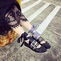 Bailarinas de Cuero Suave Zapatos De China de la Polaina de fondo plano Zapatos de Las Mujeres de La Pu Toeshoe Punk Estilo Bailarina de Tiras de Color Puro