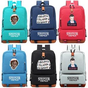 Image 1 - ストレンジャーものアルファベットriverdale少年少女の子供スクールバッグ女性bagpackティーンエイジャーランドセルキャンバス男性学生のバックパック
