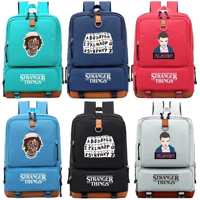 ストレンジャーものアルファベットriverdale少年少女の子供スクールバッグ女性bagpackティーンエイジャーランドセルキャンバス男性学生のバックパック