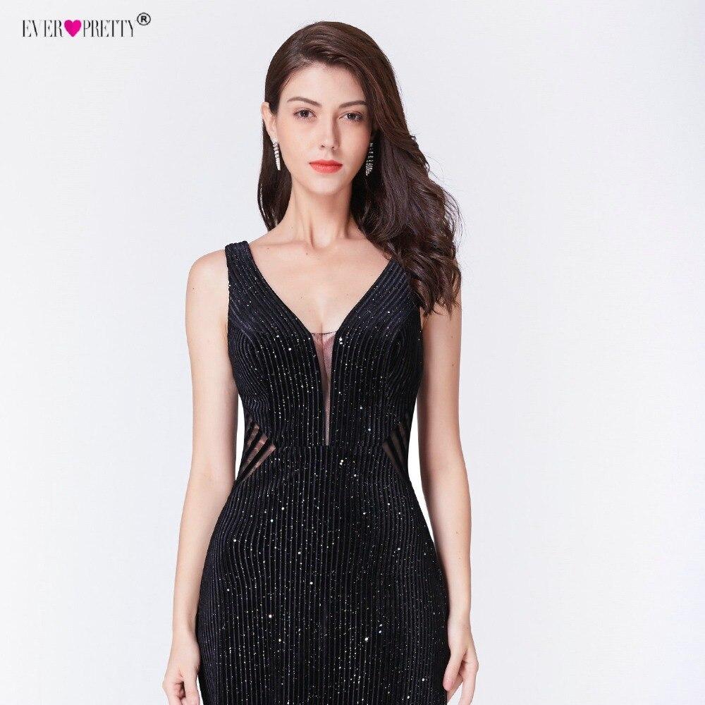 Robe De Soiree Little Mermaid Evening Dress 2019 Ever Pretty EP07439BK Elegant Illusion V Neck Backless Black Formal Party Gowns