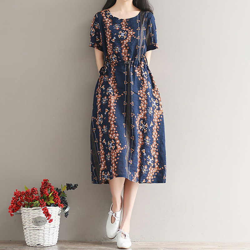 Plus size Summer dress Women Beach dress short sleeve Cotton Linen dresses  vestidos Vintage Loose Casual 5f125cbabc49