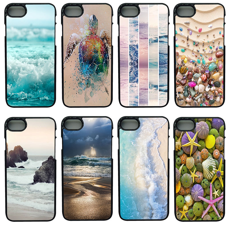 Colorful Seashell Tropical Sea Island Turtles Phone Case Anti-knock Case PC Plastic Hard Case for iphone 8 7 6 6S PLUS X 5S 5 SE