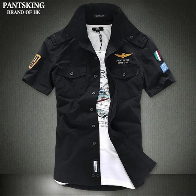 c794751e2e6e 2018 Summer New Men s Casual Short-Sleeved Shirt Fashion Brand Of High  Quality Cotton Air Force One Style Print Shirt Men