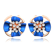 Fashion Jewelry Three-dimensional Matte Ear Clip Blue Flowers Earrings Perforated Female Elegant Earring E00957
