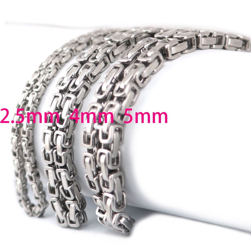 2.5mm 4mm 5mm Men Chain Silver Tone 316 Stainless Steel 22inch Byzantine Box Link Necklace chain beier stainless steel men fashion jewelry high quality pulseira masculina byzantine chain link necklace for women bn1038